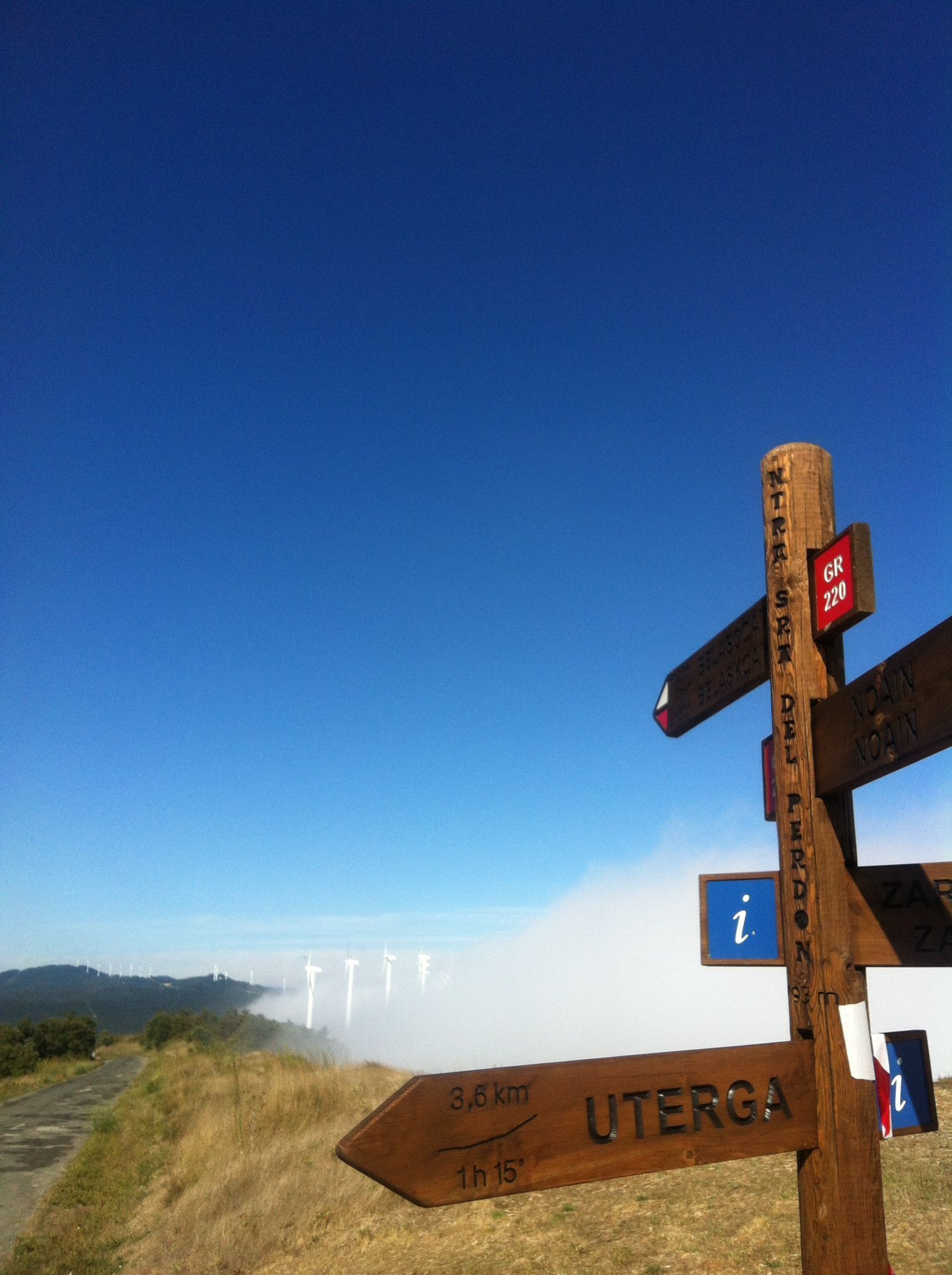 2S4Db calendar. Signpost at the French Way to Santiago